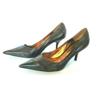 Aldo Brown Leather Pointed Toe Pumps Excellent Con